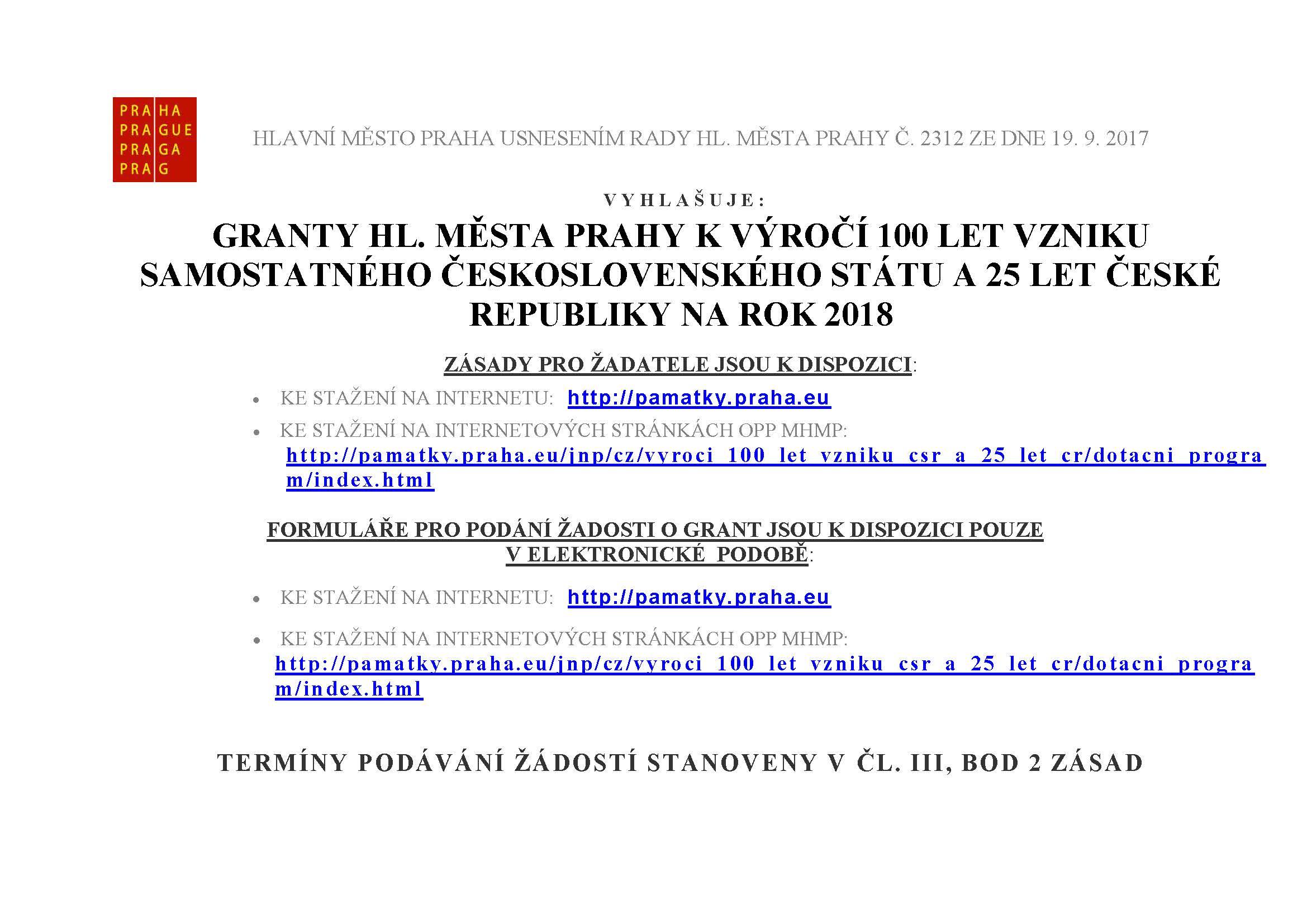 Praha vyhlásila grantový program ke 100. výročí vzniku republiky a k 25 letům ČR na rok 2018