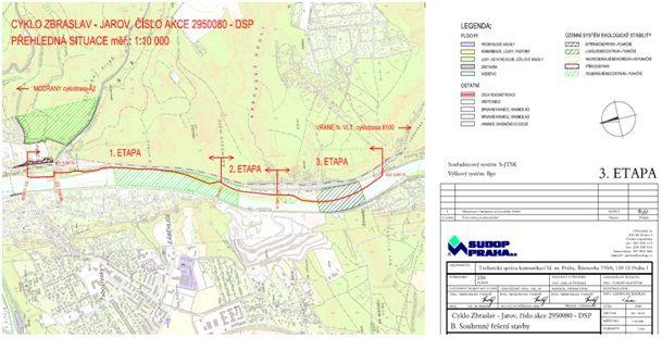 Mapa: cyklostezka, vedoucí z Prahy 5 -  Zbraslavi do Vraného nad Vltavou. Zdroj: Praha.eu